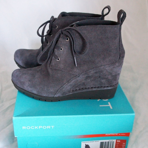 1a424c8867d18 Rockport Shoes   Desert Chukka Grey Suede Boot Wedge 9 New   Poshmark